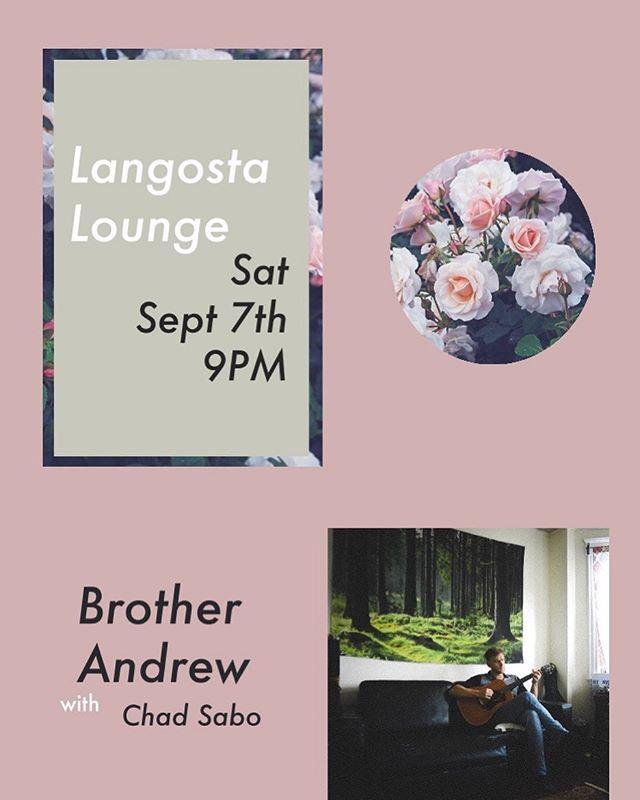 this Saturday at @langostalounge with @chadjmsabo 9PM
