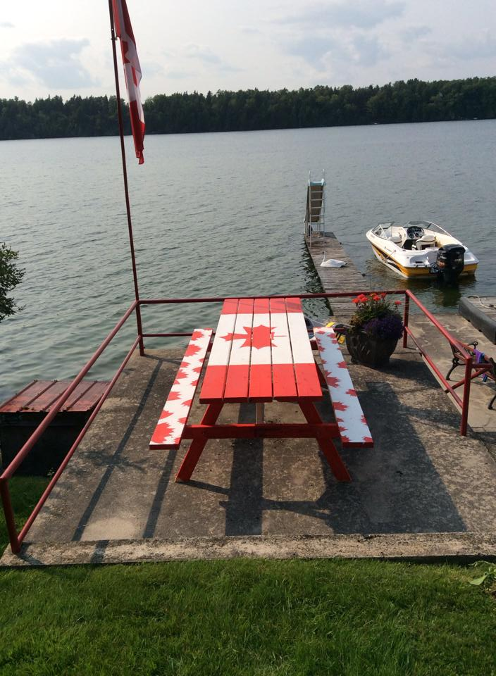One of our finished picnic tables at its new home