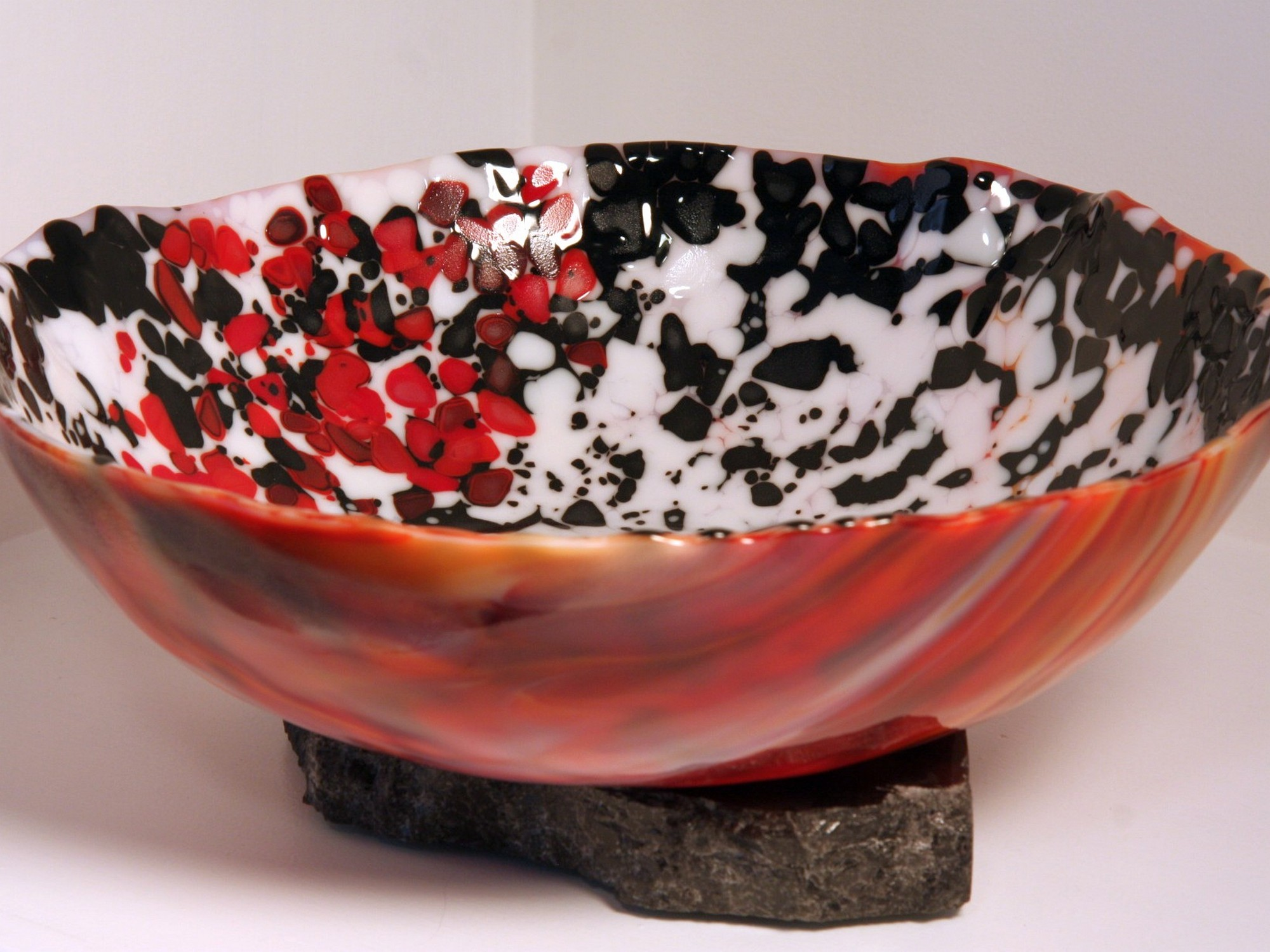 Sarah Dionne, draped bowl, 15 inches, kilnformed glass, $200.jpg