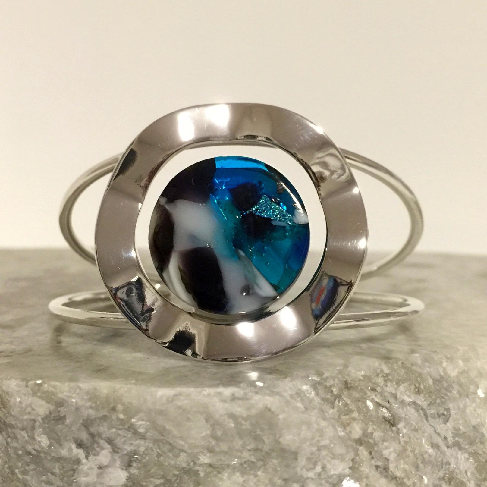 Sarah Dionne, kilnformed glass, Sterling Silver bracelet, $75.jpg