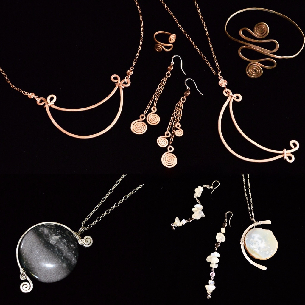 GERMINATE...Luna Necklace, Cuff,  Ring & Earrings  .Moon Phase Pendants & Moonstone Earrings.jpg