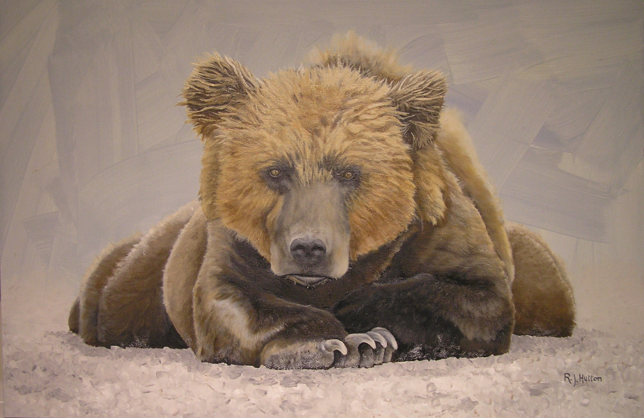 Bear Pose 36x24 oil canvas.JPG