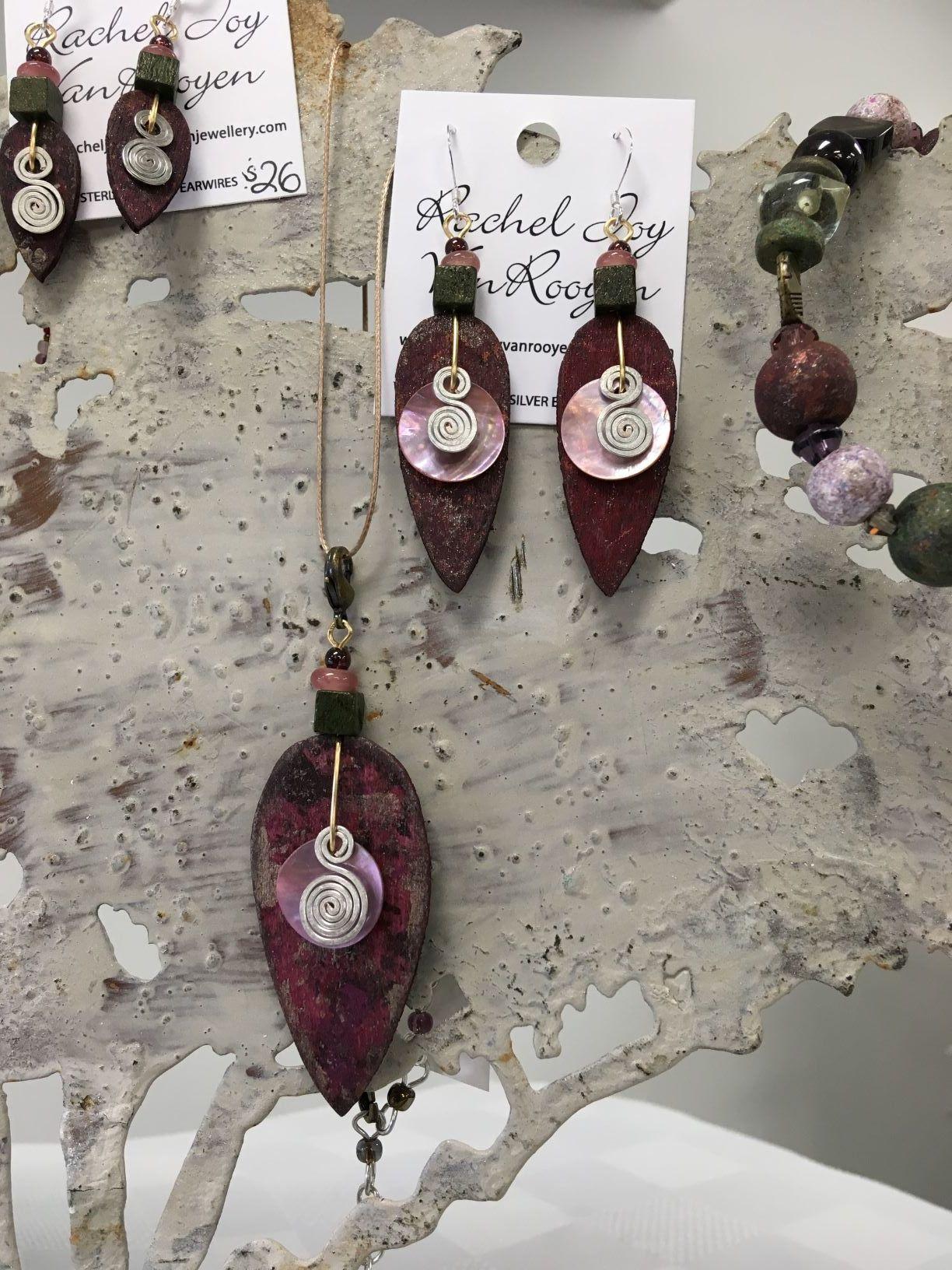 Rachel Joy VanRooyen, Hand Crafted Jewellery, burgandy wood and shell pendant and earrings.JPG