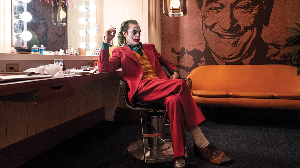 Portrait of the Joker in a powder room