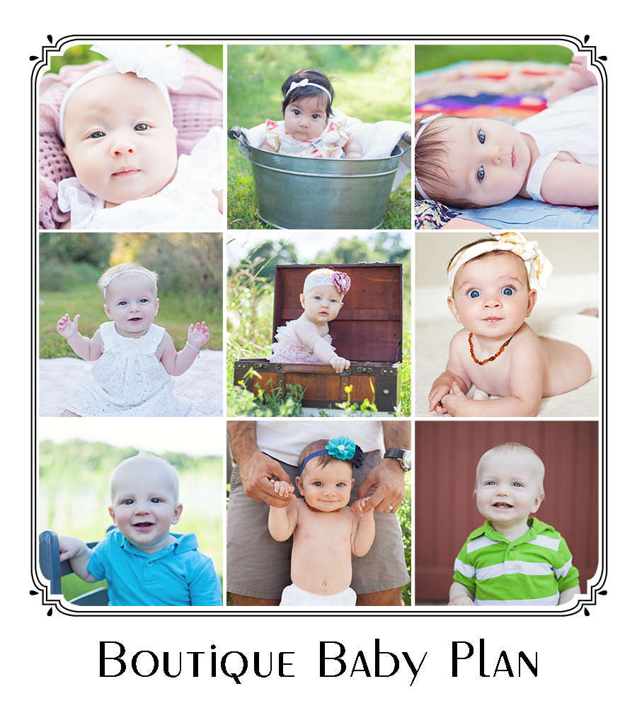 This Baby plan is more of a mini session of the Watch Me Grow series combining a set of 3 sessions at the 3 month, 6 month and 1 year stages of your babies first year. This set of 3 sessions is for one child only. This is a great way to make sure you are catching each of these unique months milestones. Each session is up to 30 minutes each and my goal in each session is to capture their growth and changes as well as developmental milestones (smiles, sitting, standing...etc.)   This Baby Plan includes a 10x20 inch art collage piece after all three sessions are completed that is a collage of 3 photos (one picture from each session). The session fee of $99 (plus tax) to be paid up front prior to the 3 month session.I do ask that you order a minimum of $100 from each of the three sessions. This helps cover my cost and keep me running. I am so happy to offer this amazing deal for families and love seeing the changes in these little ones in this first year.  Feel free to email me at sarahcollinsphoto@gmail.com for any other questions or to officially book your first session.