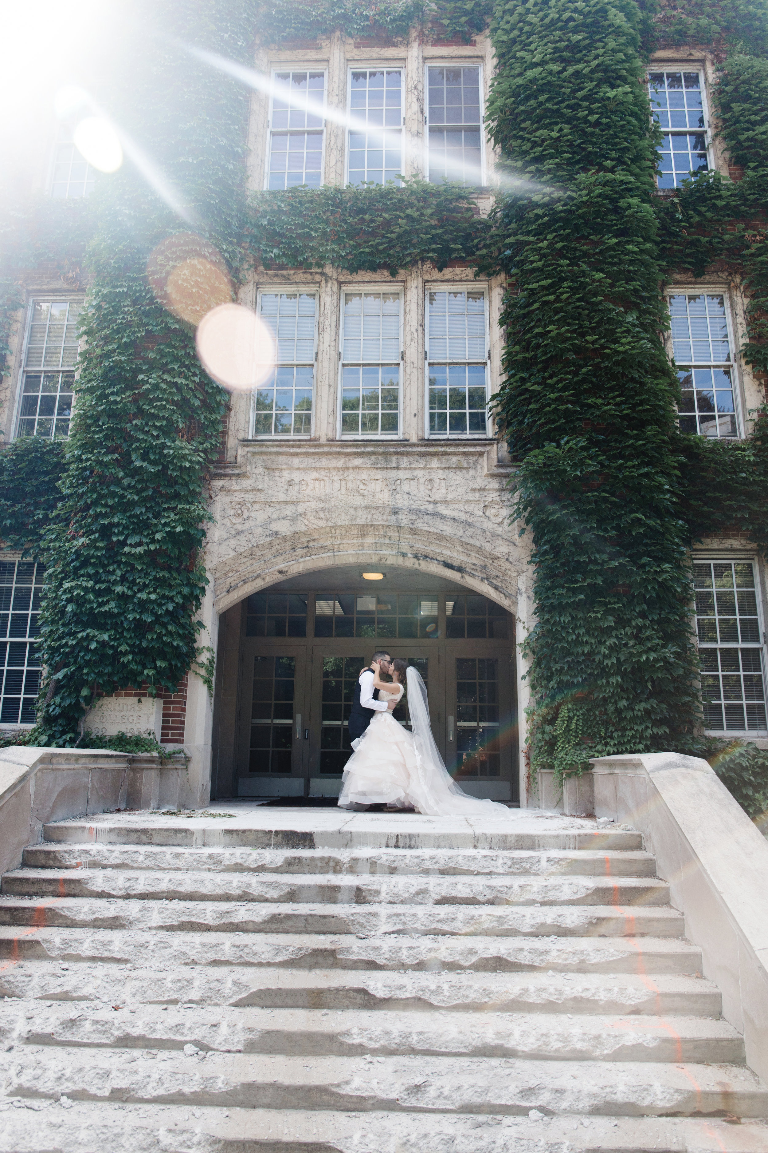 This was one of my favorite shots from the day... some of the college was under construction but this beautiful old building had just the right amount of charm and rustic appeal to pair with a beautiful couple to get the most beautiful shot!