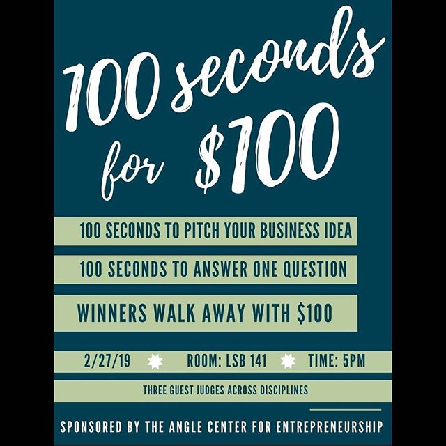 Motivational Monday! Need an incentive to pitch? How about you speak for 100 seconds for the chance of winning 100 dollars! #ThisisEndicott
