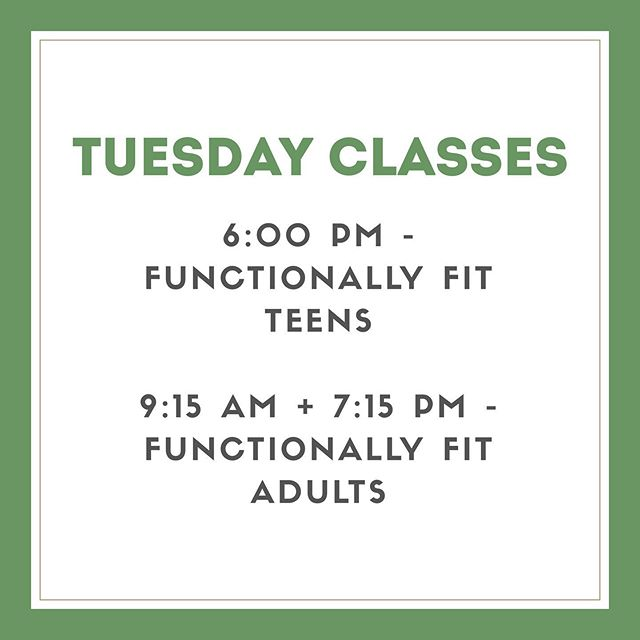 """Tuesday's are """"Functionally Fit"""" days!!And as someone asked me — NO, you don't need to be """"functionally fit"""" to attend! Thats's what our instructor Jen is for!  FF is an interval training class including strength training, stability training, and bodyweight exercises designed to increase muscle tone and improve cardiorespiratory fitness. Special emphasis will be placed on functional training, allowing participants to become stronger, more stable, and better equipped to perform activities of daily life.  Adult classes are at 9:15 AM and 7:15 PM. Teens are at 6:00 PM! All ability levels welcome!!"""