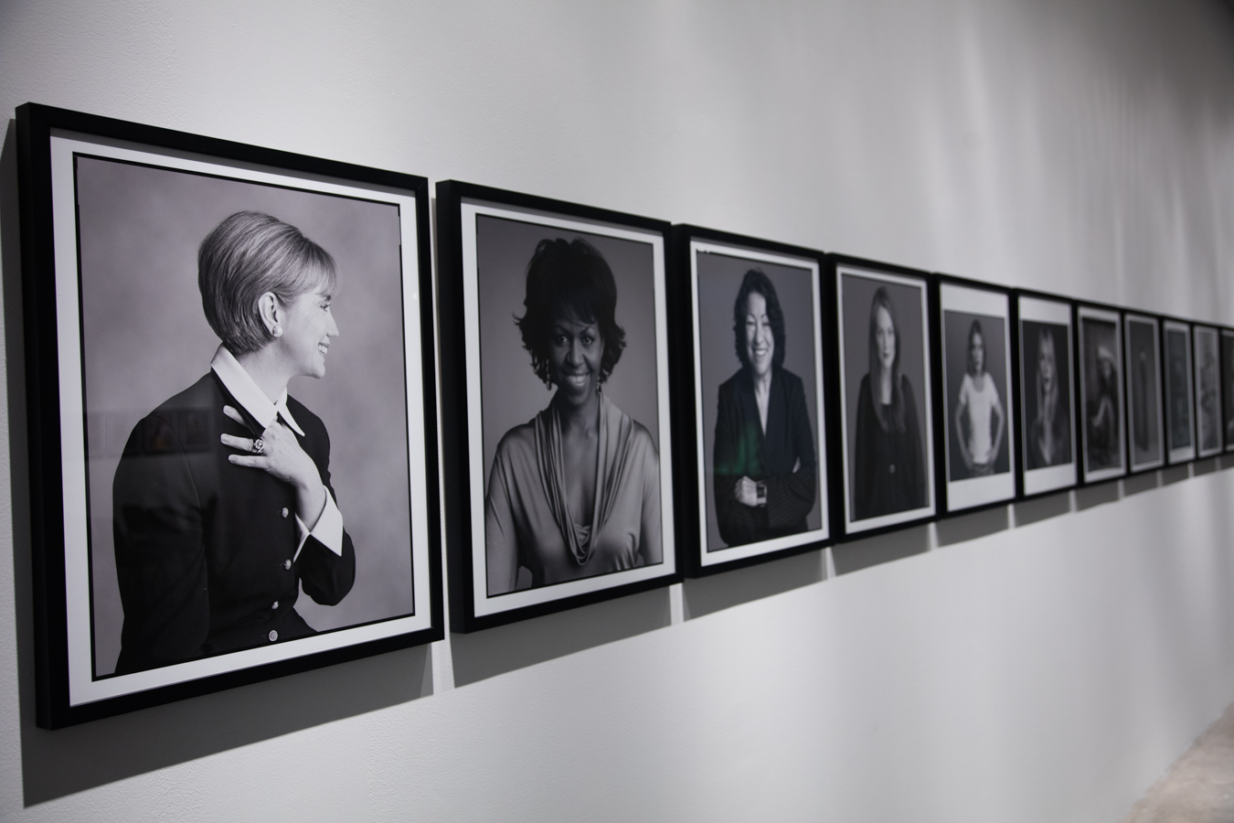 Hillary Clinton (First Lady, Senator and Presidential Nominee), Michelle Obama (First Lady), Sonia Sotamayor (Supreme Court Justice) and black and white image installation