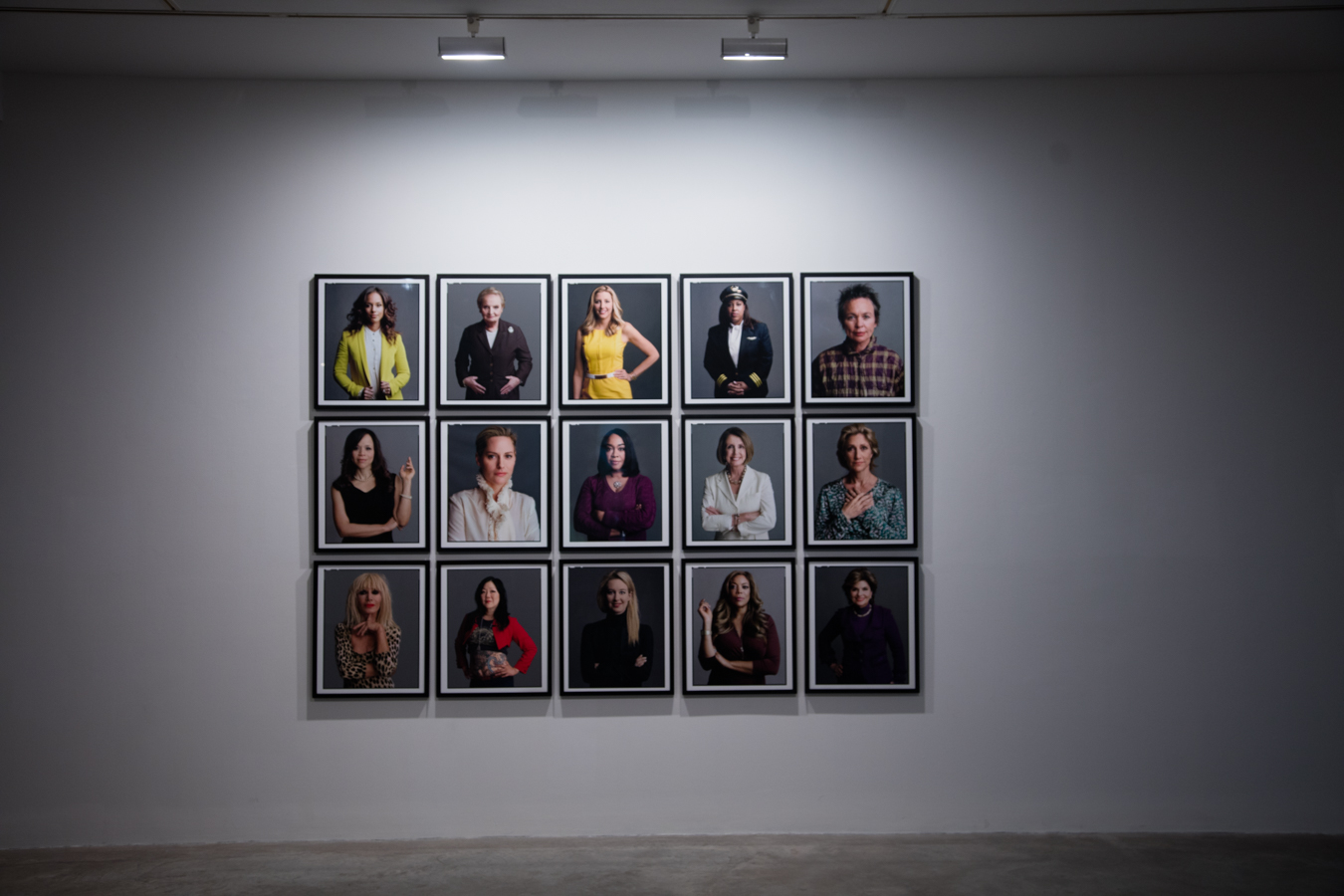 TIMOTHY GREENFIELD-SANDERS: The Women's List - 50 Portraits & Film Projection installation view