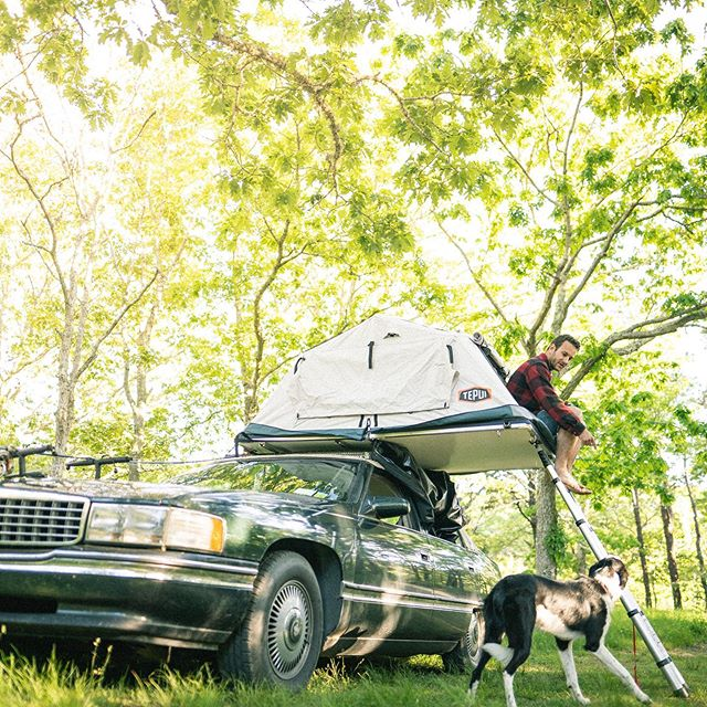 Easy riding AND sleeping. Have you ever seen a rooftop tent on a 1994 Cadillac Deville? Now you have. . . . . . . #camping #carcamping #tepui #tepuiendlessadventure19 #tepuiadventures #tepuitents #rooftoptent #vanlife #vanlifestyle #flyfishing #fishing #stripers #striperfishing #roadtrip #cadillac #cadillacdeville #lifeontheroad
