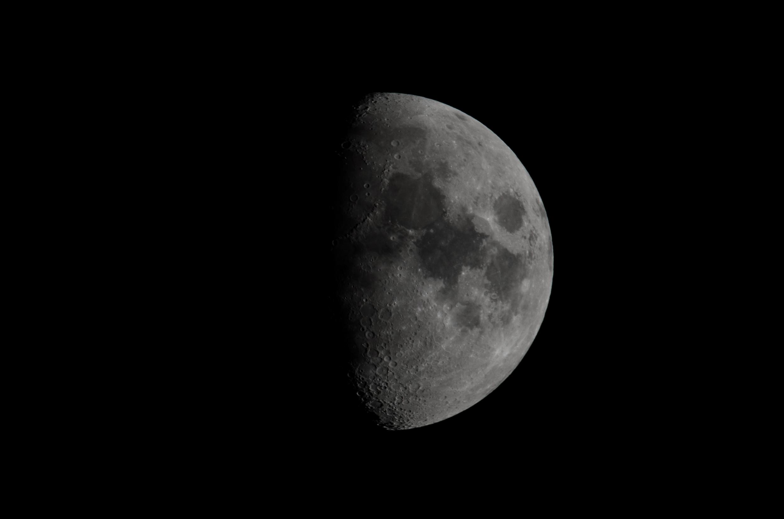Waxing Moon  Nixon D7000 ISO 100 600mm f/14 1/125 sec.