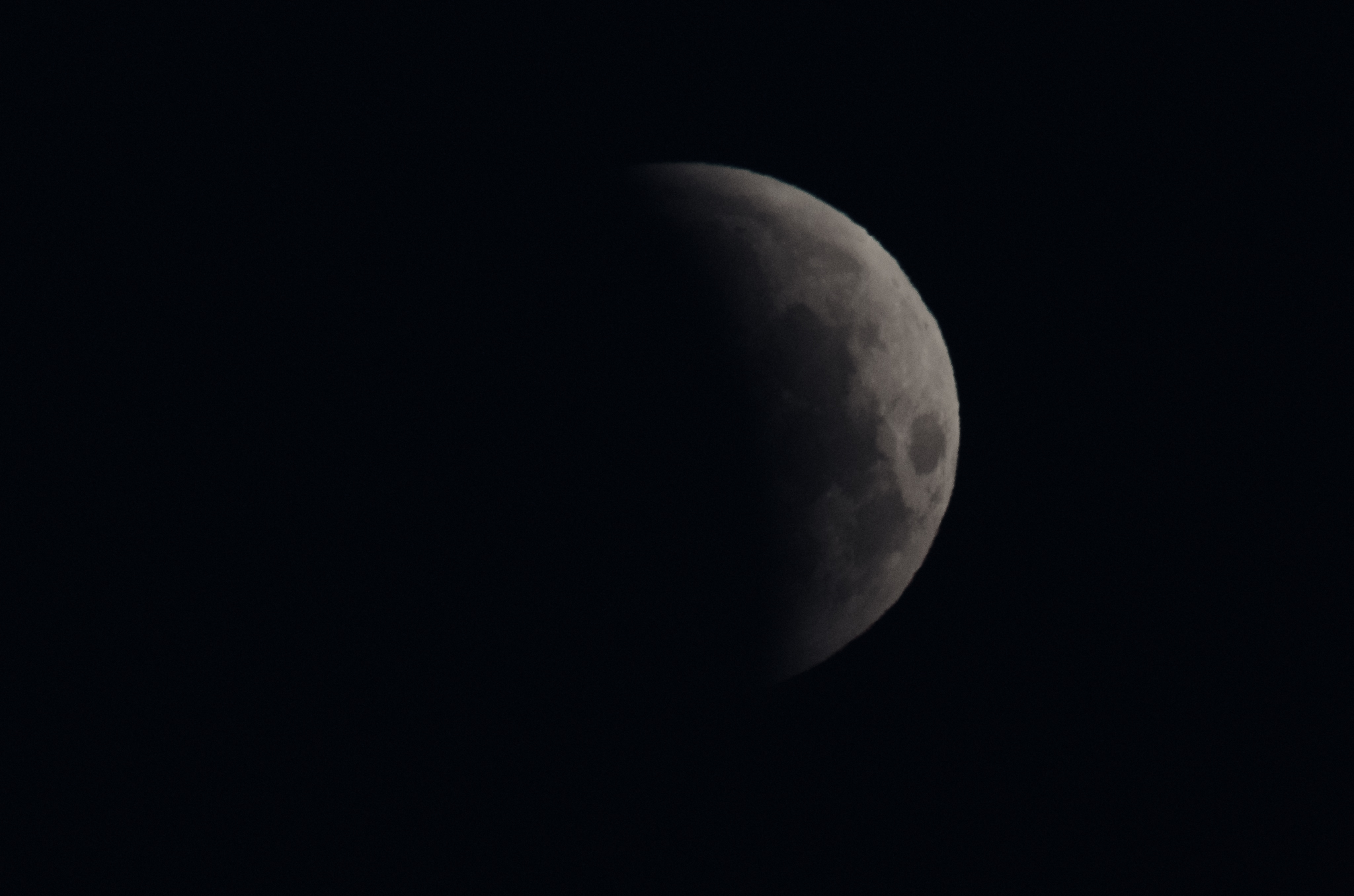 Lunar Eclipse 07:08 AM  EDT  Nikon D7000 ISO 640 600mm f/11 1/100 sec.