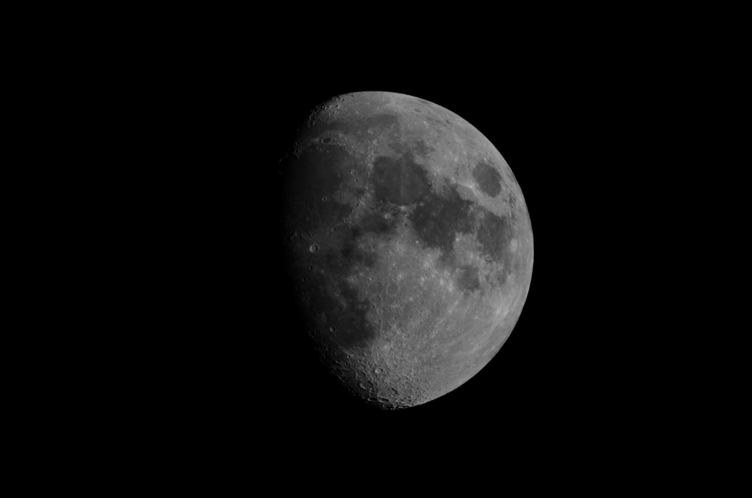 Waxing Moon  Nikon D7000 ISO 100 600mm f/10 1/400 sec