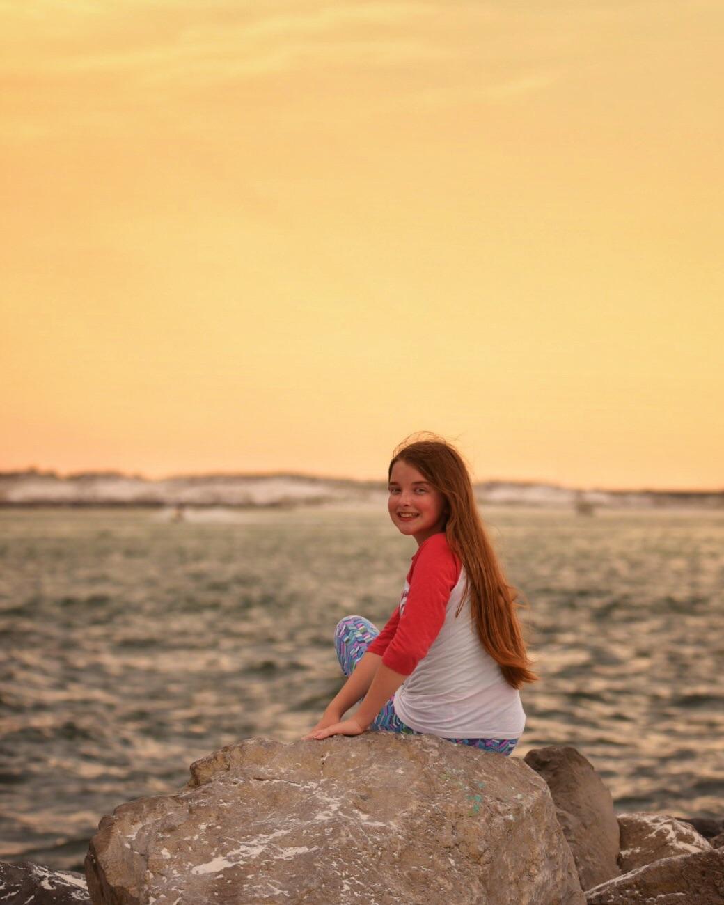 Madeline at sunset