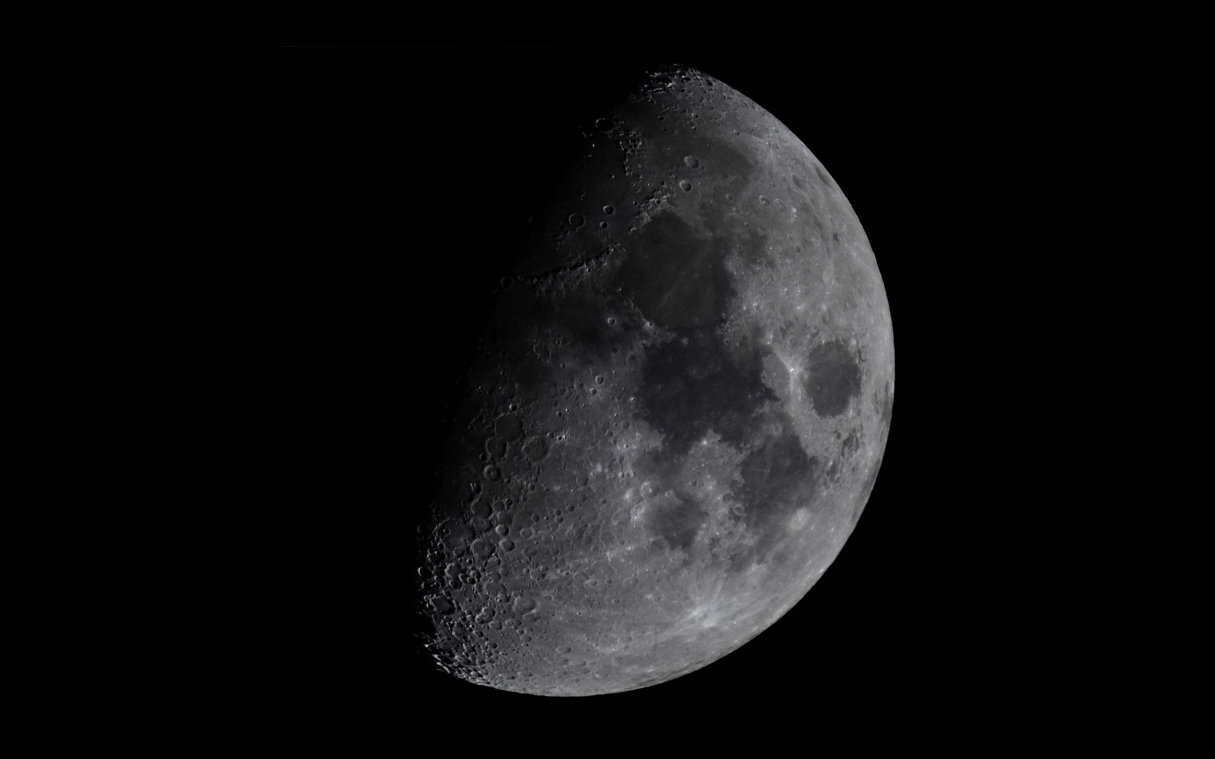First Quarter Moon - 55% illuminated 8 days old