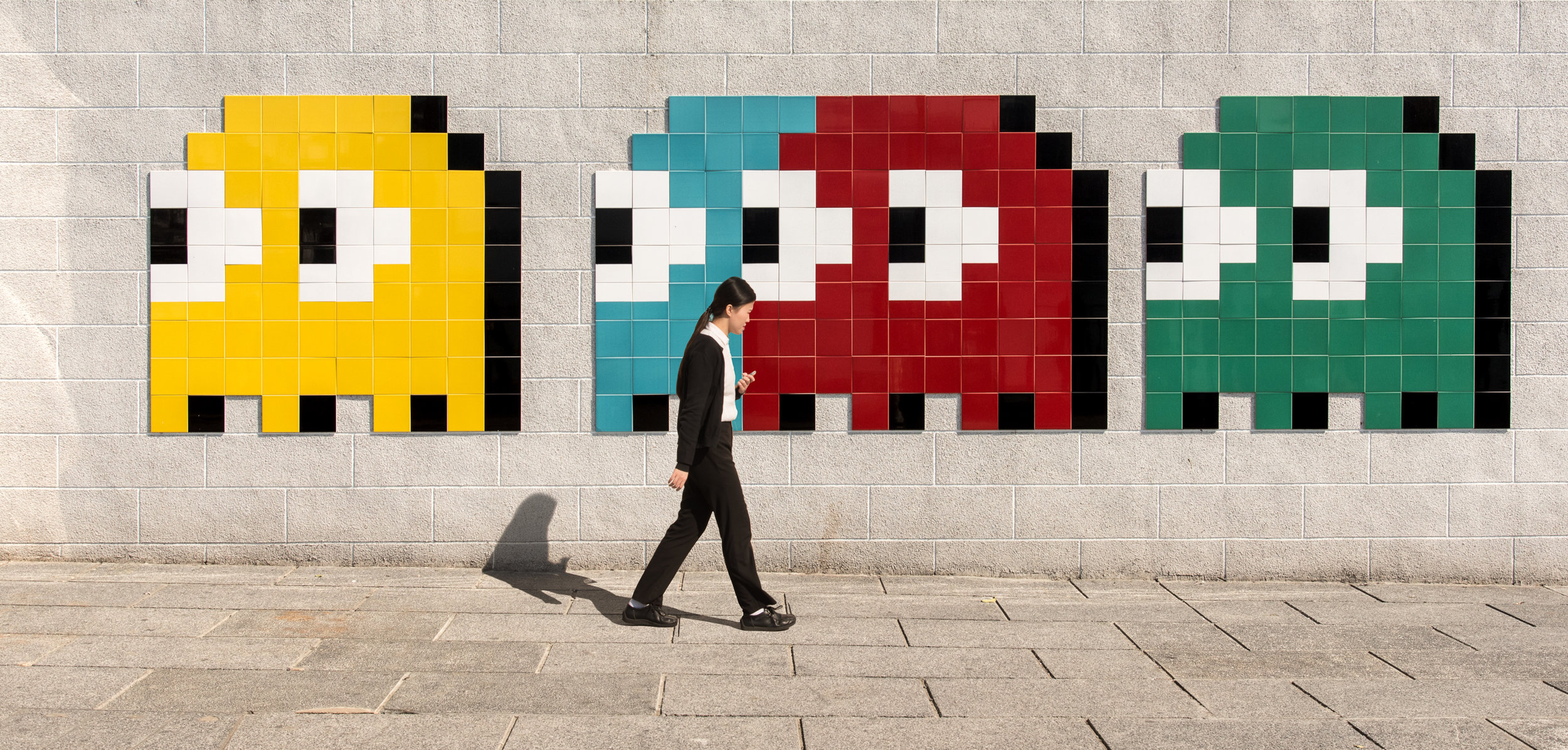 Blinky, Pinky, Inky and Clyde by Invader - Ocean Terminal Mall, Hong Kong