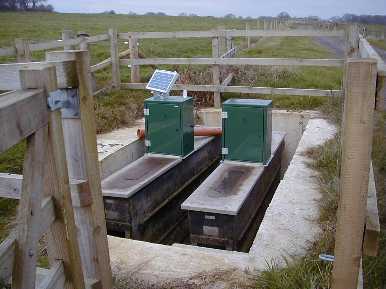 weirs from a drained plot
