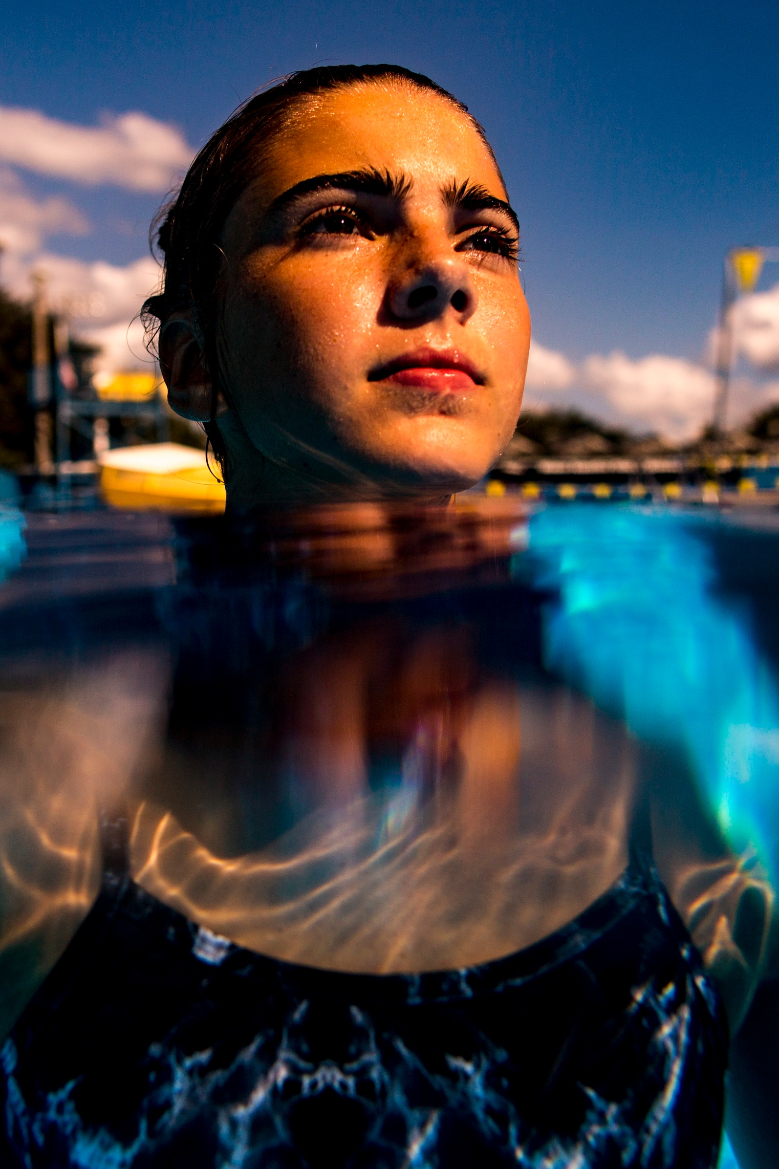 """Buchholz High diver Sara Warm poses for a portrait at the Dwight H Hunter """"Northeast"""" Pool on October 4, 2018."""