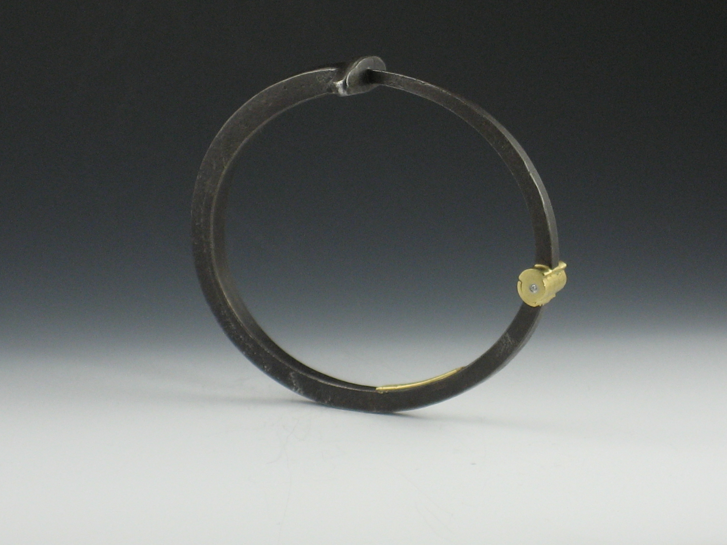 Men's Plain Nail Bracelet with Diamond in the Hinge