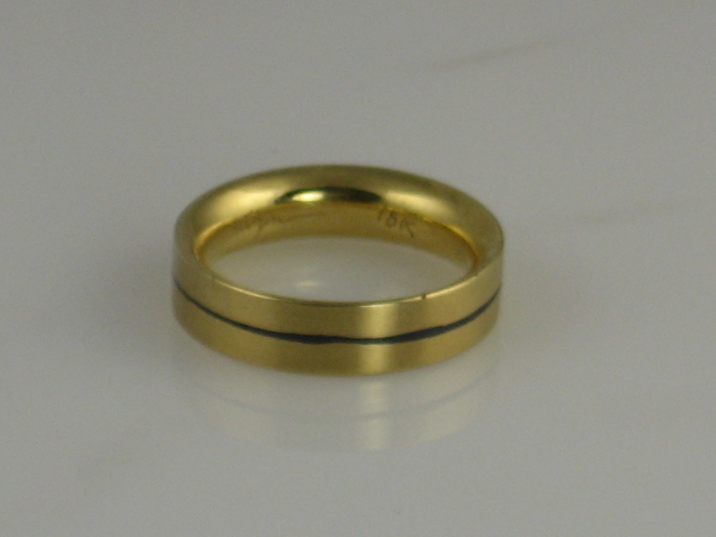 18K Yellow Gold with Niello Band Ring