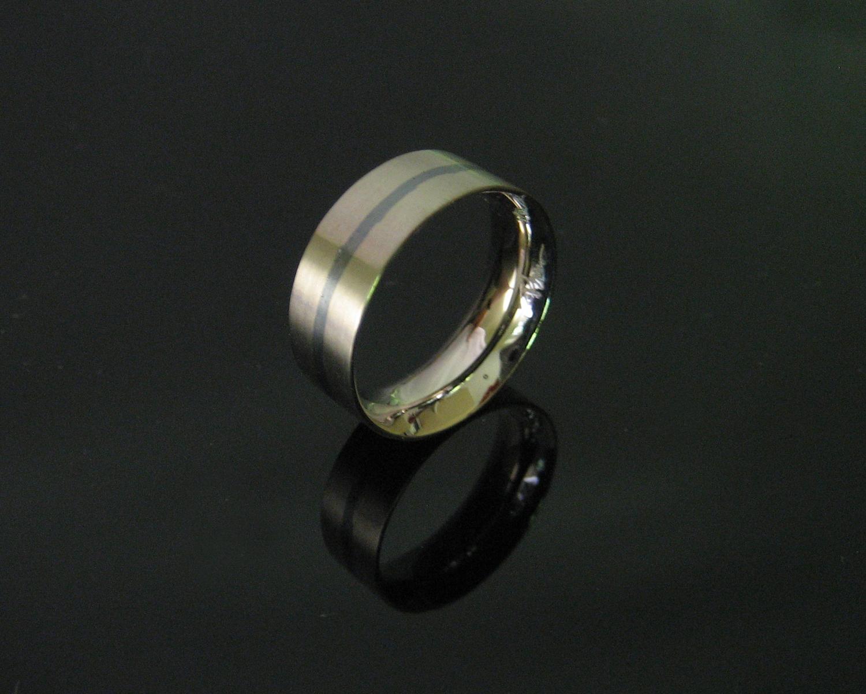 18K Palladium White Gold with Niello Band Ring