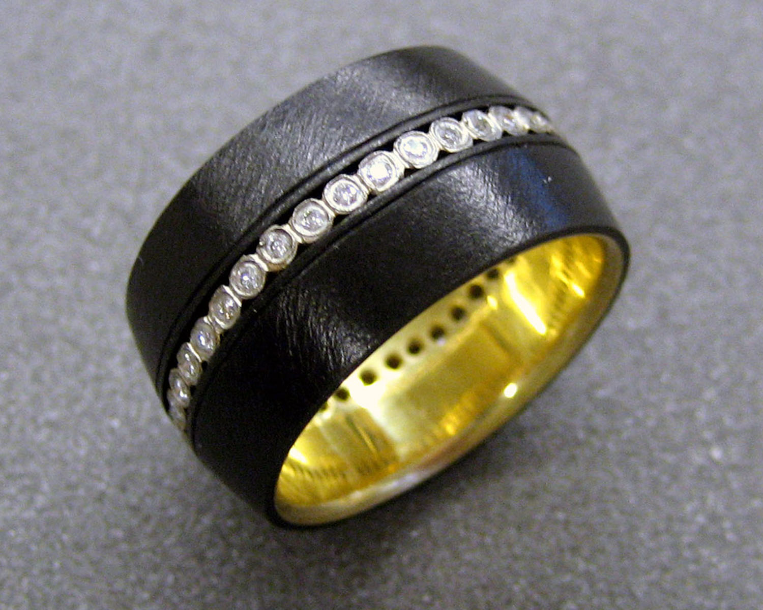 Diamond Stripe Ring with 18k Yellow Gold Liner