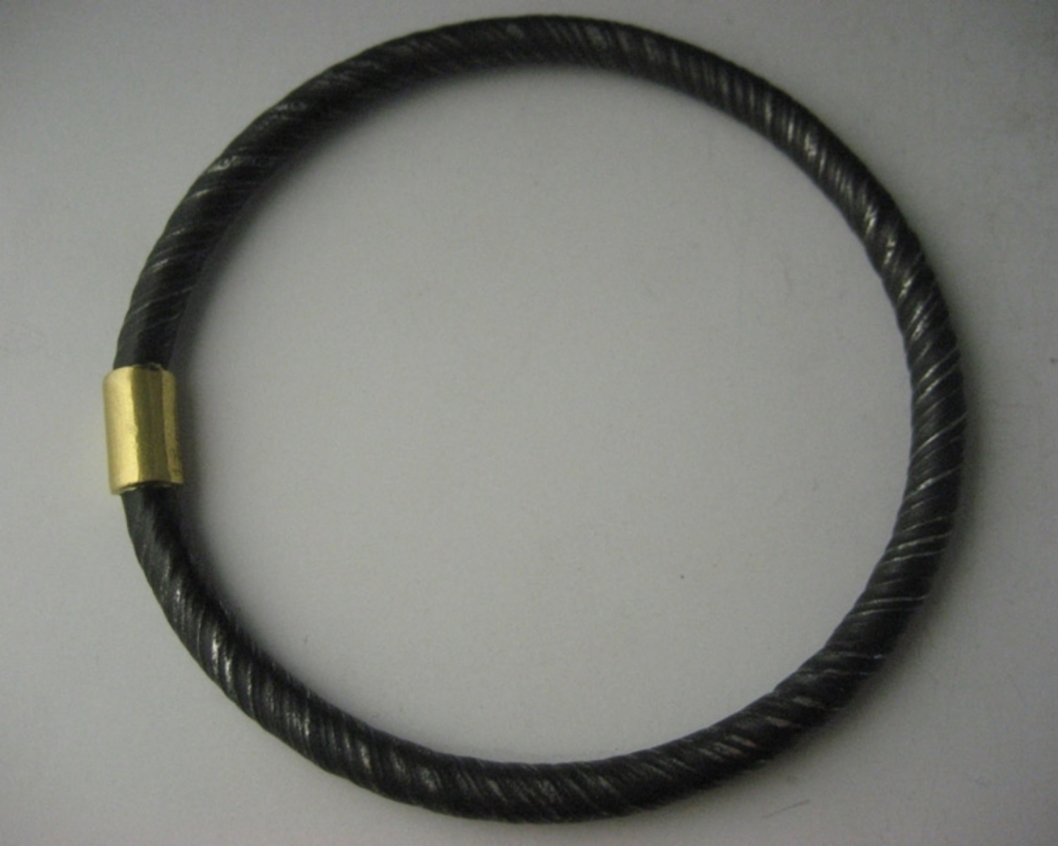 Twisted Steel with 22K Collar Bangle