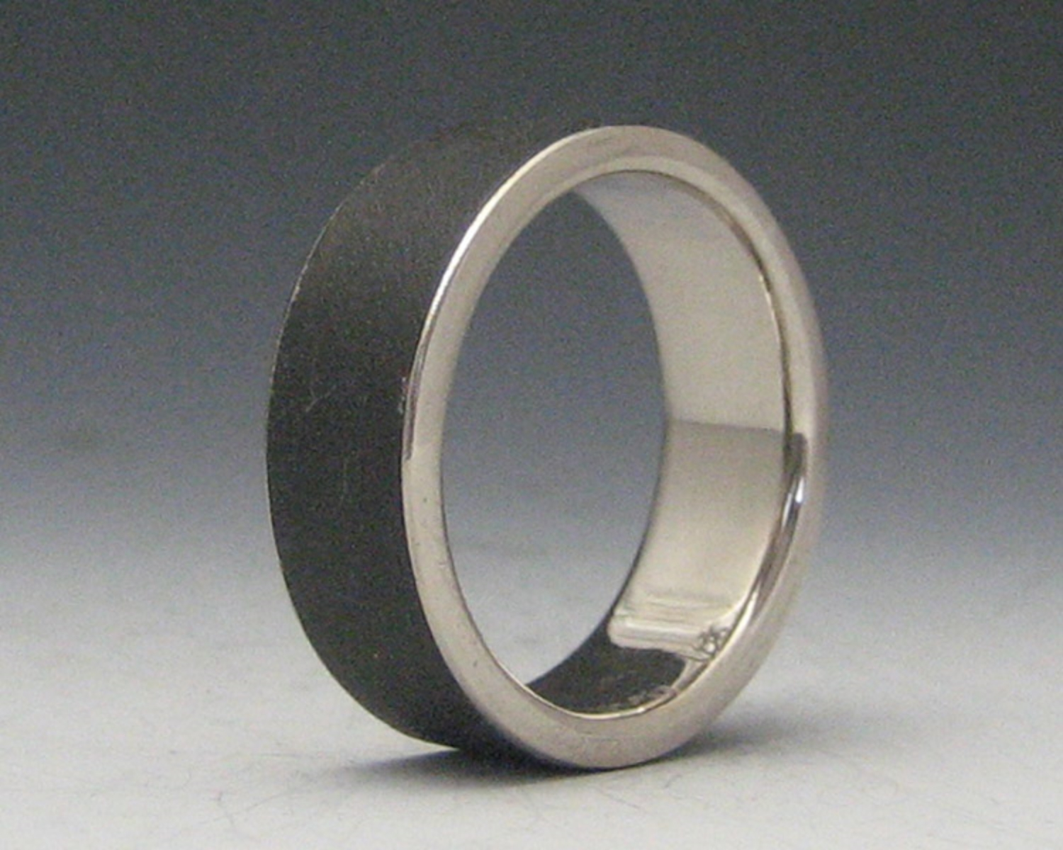 Plain Steel Band with 18K White Gold Liner