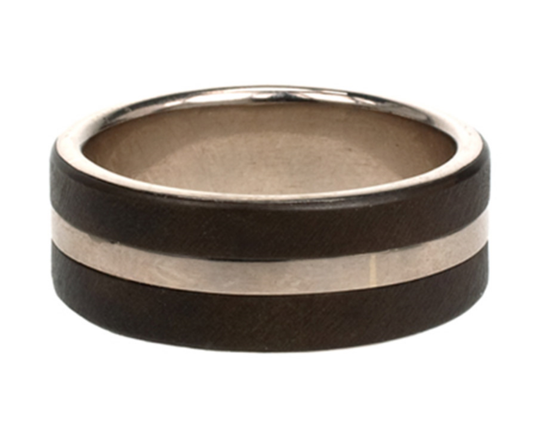 White Gold Stripe Ring