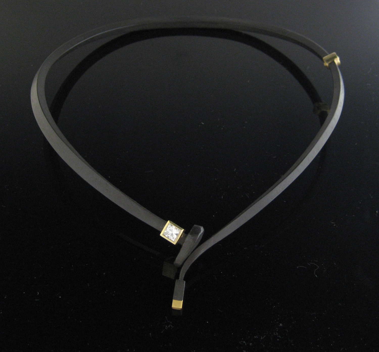 Square Diamond Neckpiece with Gold Tail