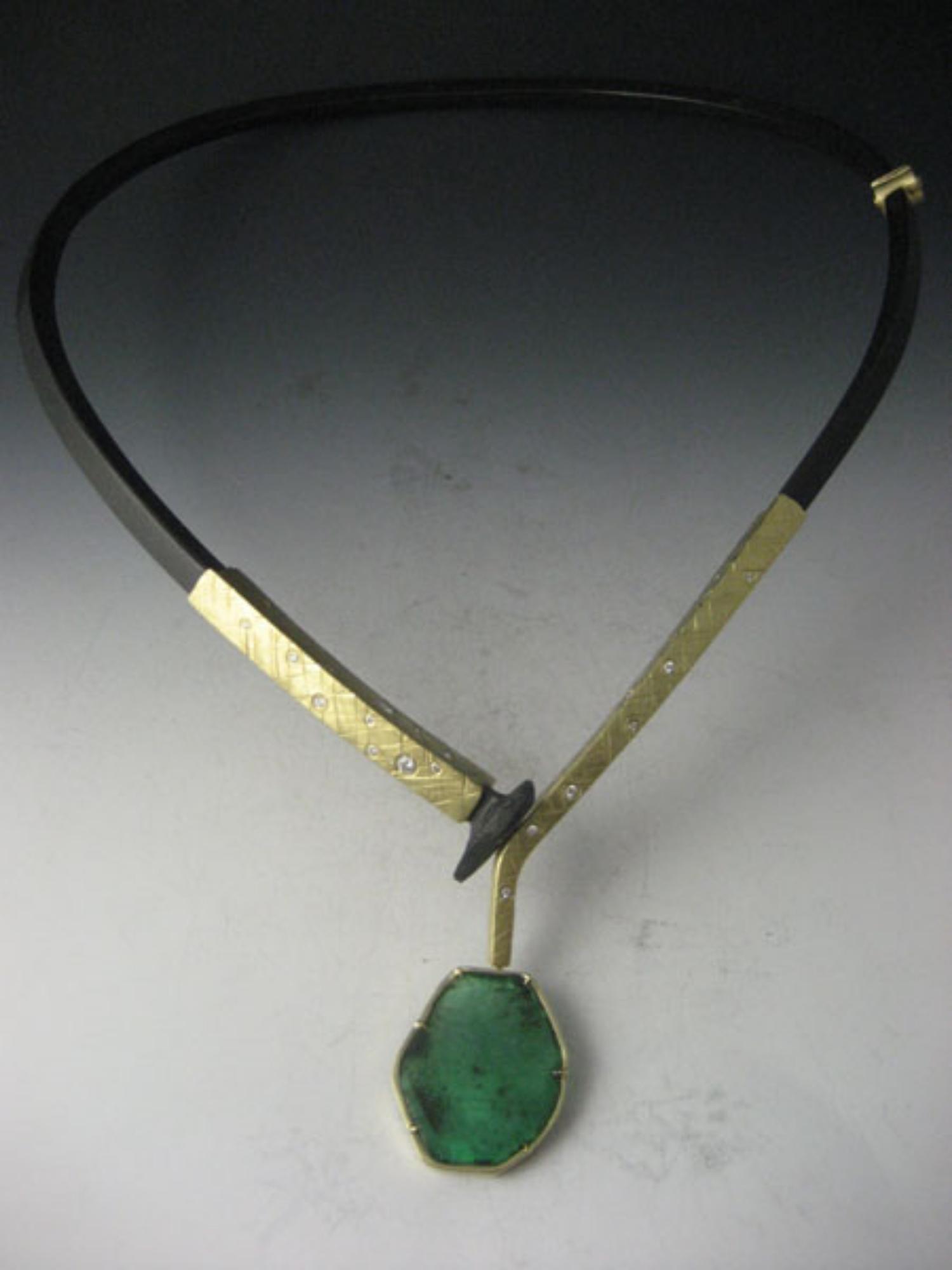Emerald Drop with Diamond Collar Neckpiece