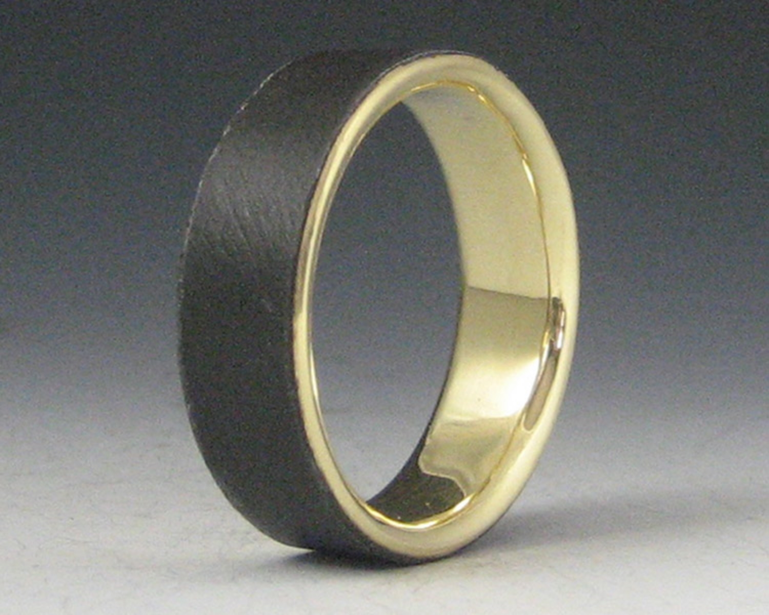 Plain Steel Band with 18K Yellow Gold Liner
