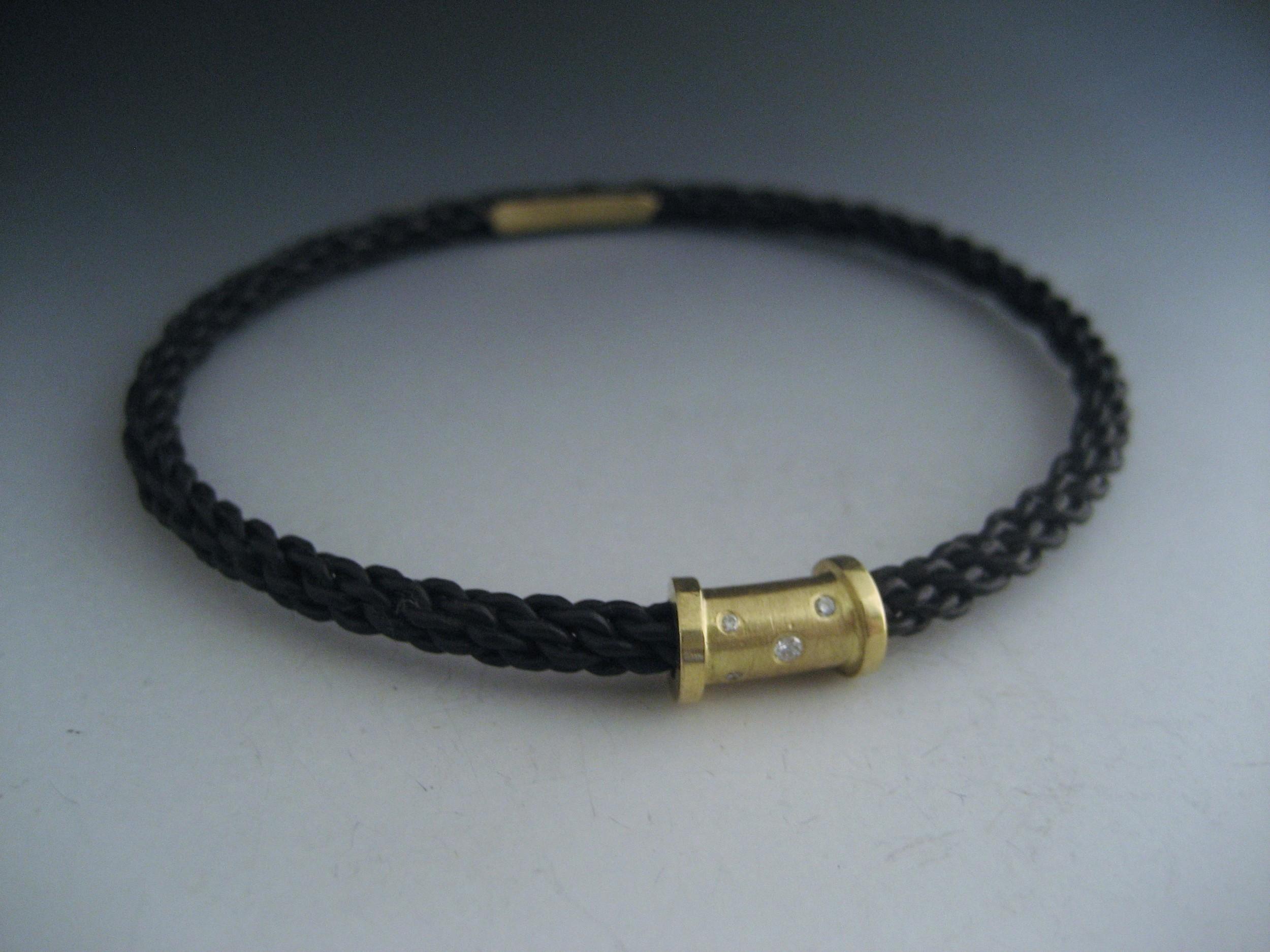 Braided Steel with 18k collar and diamonds.JPG