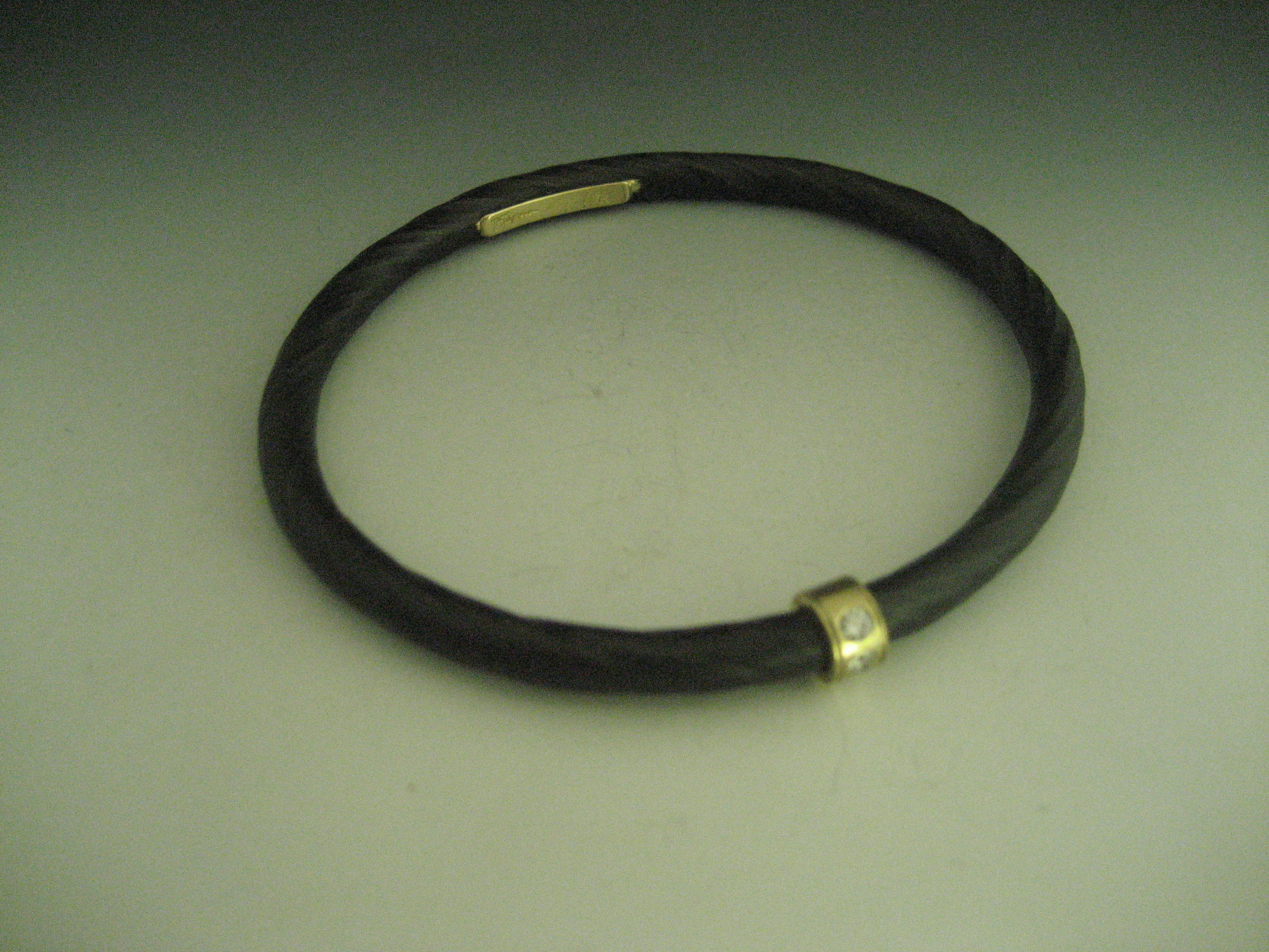 Twisted Steel with 18k Collar and Diamonds Bangle