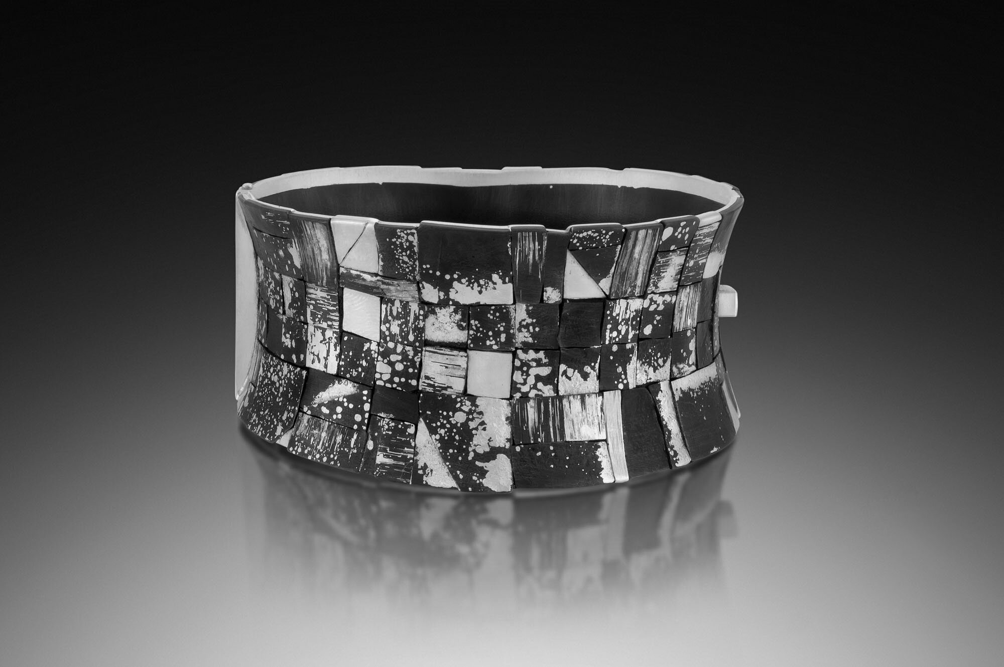 Dished Mosaic Cuff- Black and white.jpg