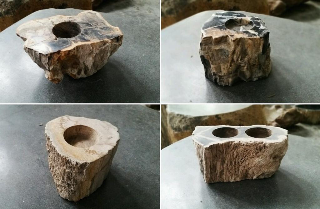 Подсвечники из окаменелого дерева