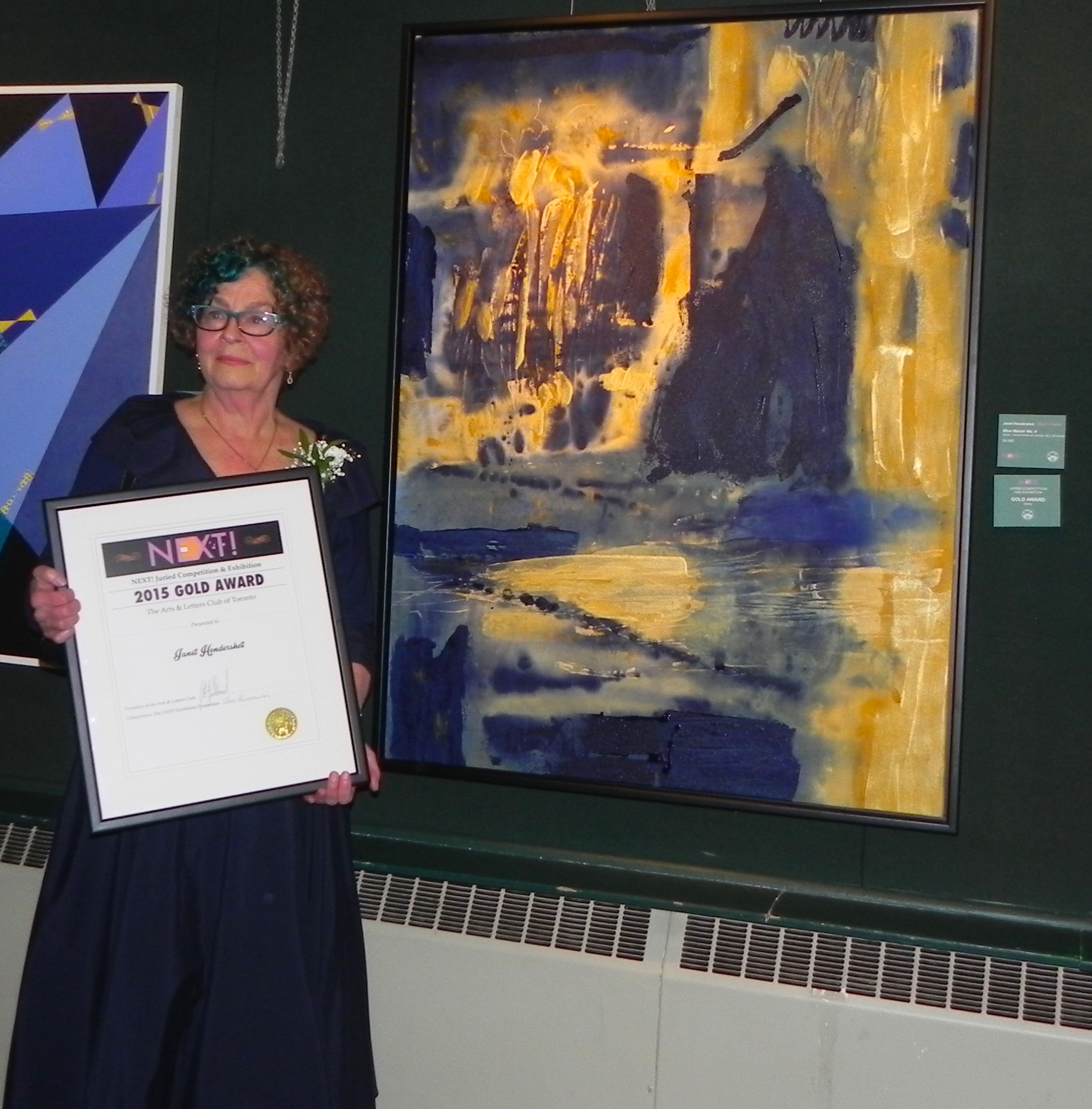 """Holding the Gold Award for Marshland No. 4 (acrylic, 48"""" x 36""""). Top award selected from initial 700 images entered to the NEXT! exhibition, Arts and Letters Club, Toronto"""