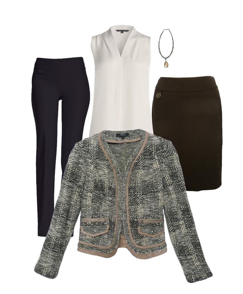 A great tweed jacket - To go with brown slim skirt, black, grey, tan pants.Shop the sale styles below
