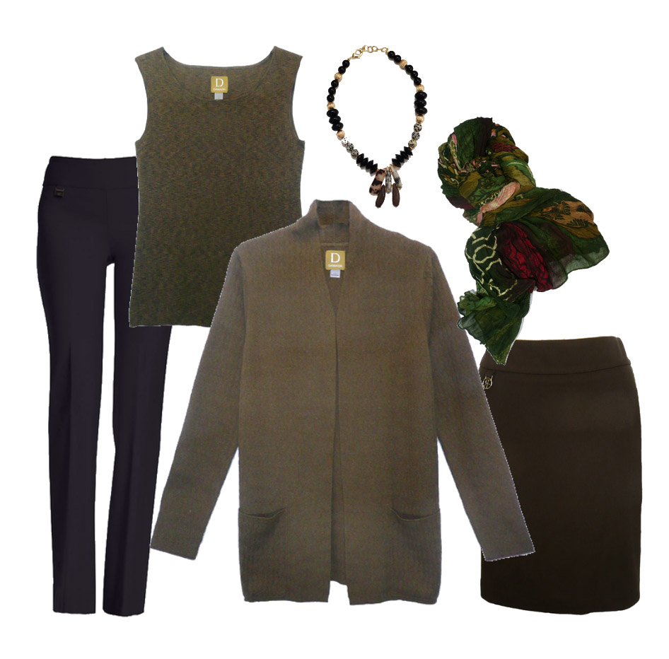 A great outfit for you! - Hi Hope, The knit cardigan with matching tank could be a great work outfit with this brown skirt or with black, navy, or brown bottoms you own.  Add jewelry or scarves!  You can shop the items below.Best, Dorothy