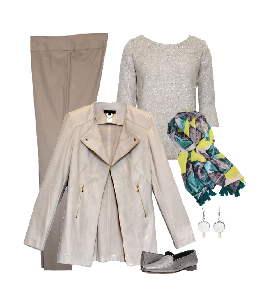 Soft tones - Mixed with soft sueded jacket and shimmer top