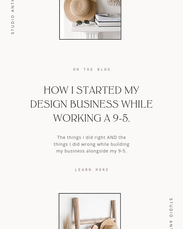 "On the blog — How I built my business alongside my 9-5. A long post sharing in ALL of the things I did right & the things I wish that I did differently while first starting my design business. This post was originally sent to my email list during ""My Story"" series back in March and received such great feedback. This will be so so helpful to those of you who are just starting out or are interested in Freelancing but are just not quite sure where to start. ✨  Feel free to sign up if you want in on more content like this."
