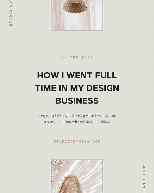 "On the blog — How I went full time in my design business. Piggy-backing off of last weeks blog post, today I am spilling ALL of the things I did right & ALL of the things that I wish that I did differently when it was time to actually leave my 9-5. If you are thinking about making the transition into full time freelance, this is for YOU. ✨ — This post was originally sent to my email list during ""My Story"" series back in March and received such great feedback. Feel free to sign up if you want in on more content like this. 😎"