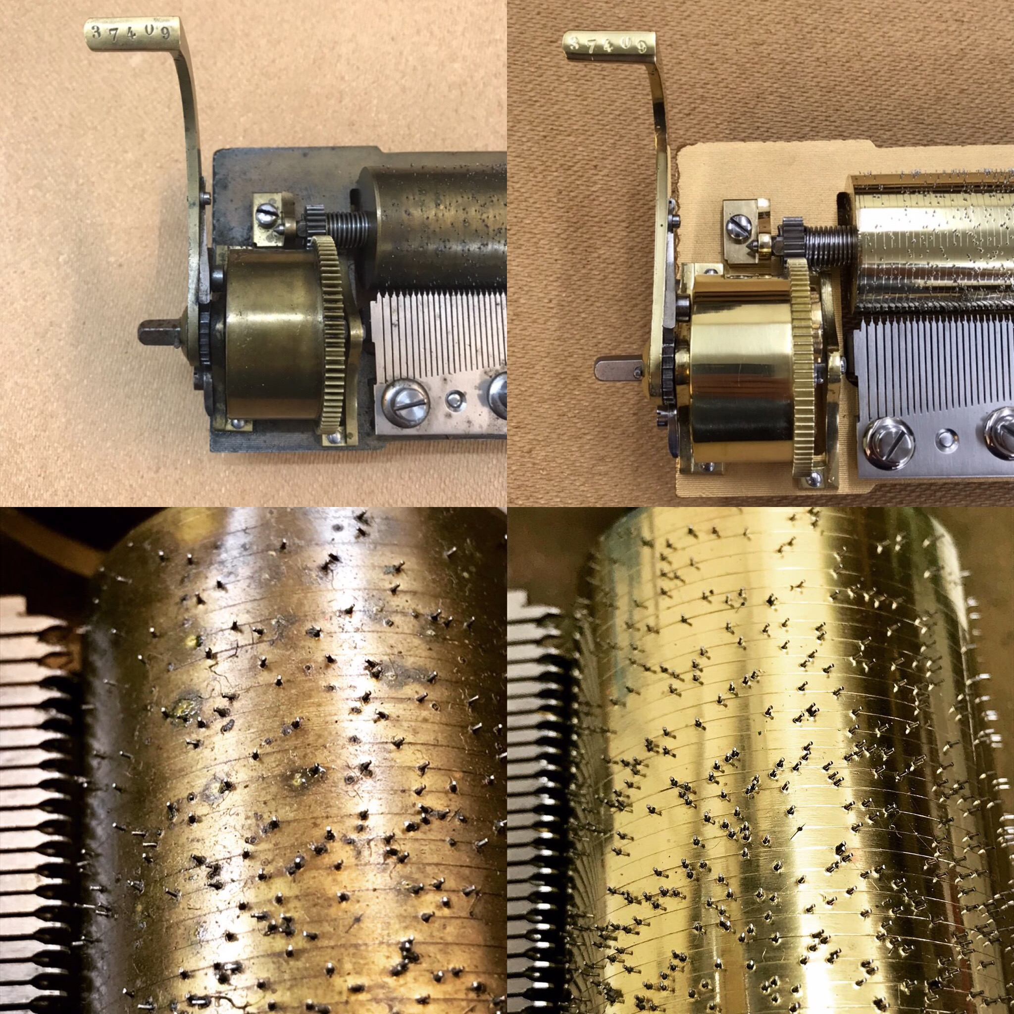 Before and After Motor Restoration and Cylinder Re-Pin
