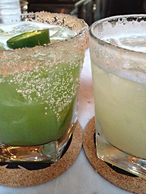 These are margaritas from Mercado in Los Angeles. These are what margaritas should look like- festive and fun!