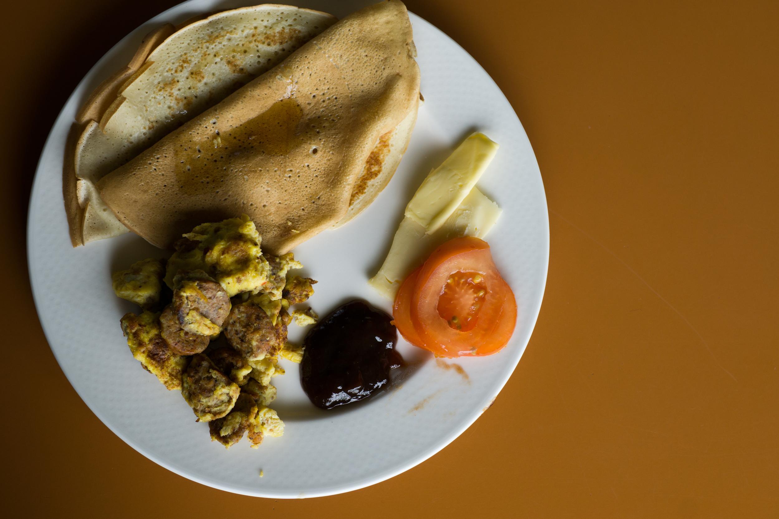 Swedish Pancakes, Veggie Sausage Scramble, Homemade Jam!