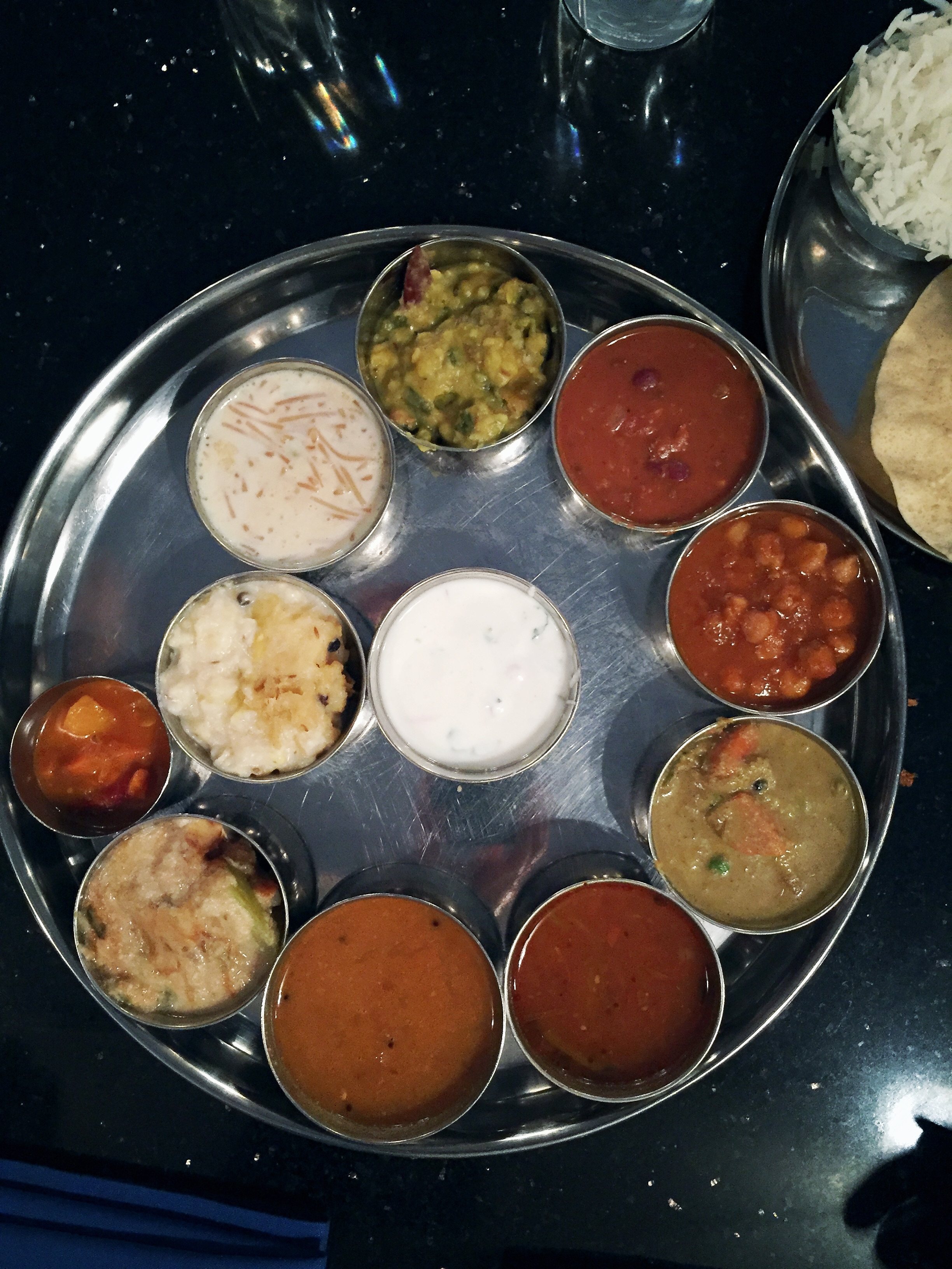 Udupi Place Thali. The lower quality my photos are, the more delicious the food because I'm anxious to eat.