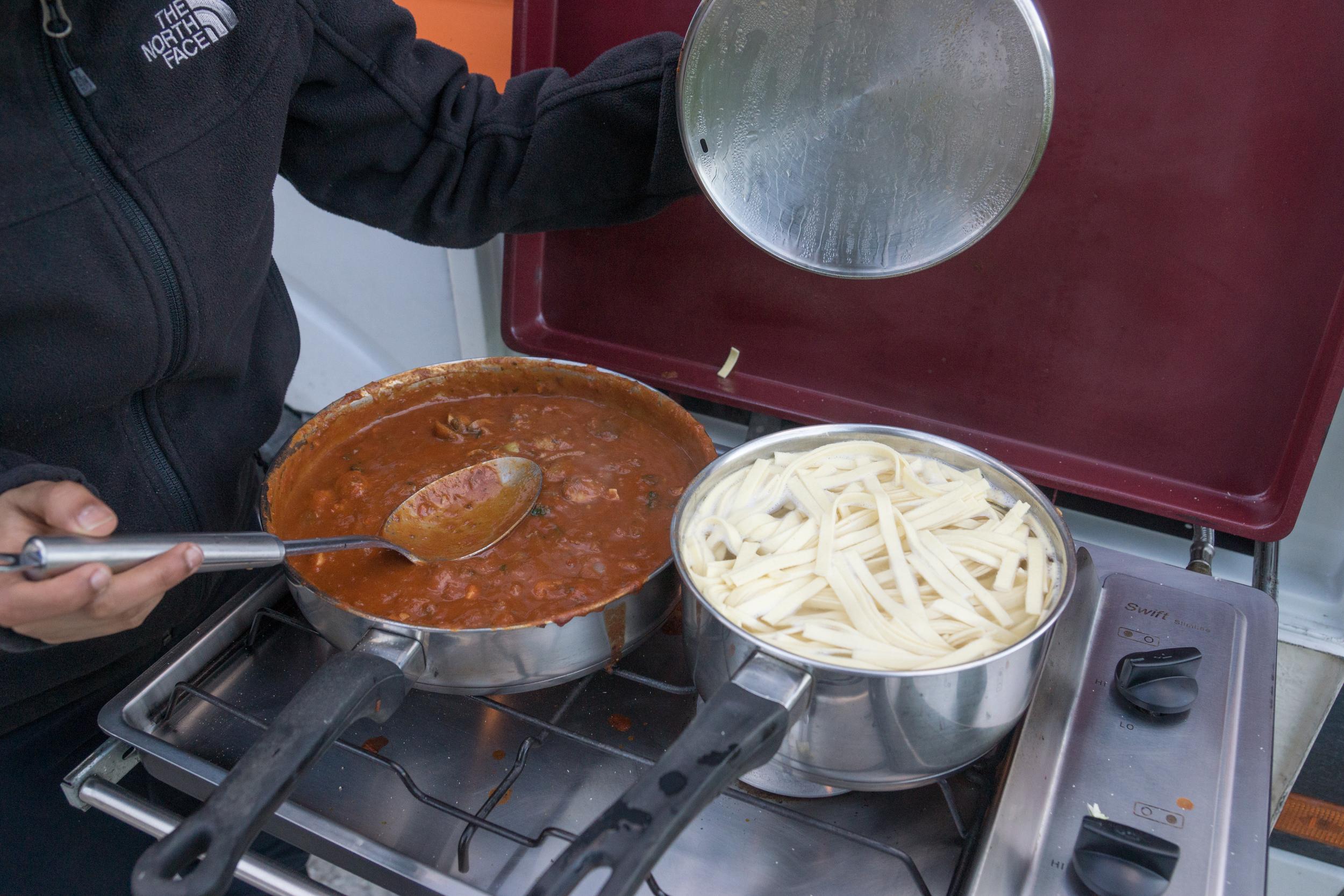 Easy pasta dinner.