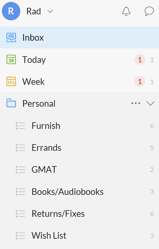 Wunderlist- a lot of categories is magical until you realize it's overwhelming & stop using the app.