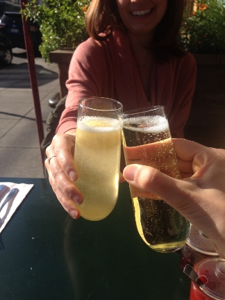 Kimberly and Megan toasting the official launch of Canvas!  (as you can see the manis happened after this pic was taken!)